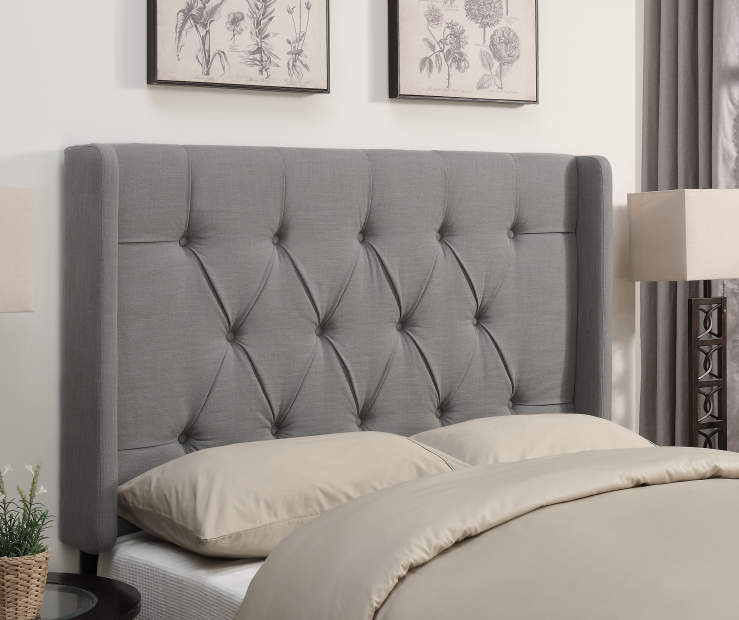 Ash Gray Tufted Queen Headboard bedroom setting
