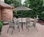 Ash Ridge Tan 6-Piece Dining Set with Umbrella