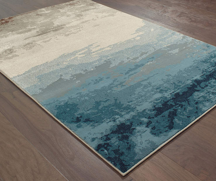 Ashton Blue Area Rug 6FT7IN x 9FT6IN On Wood Floor