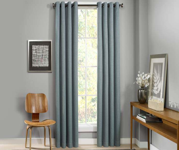 Atticus Mineral Blue Blackout Curtain Panel 108 Inches Window View