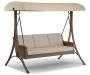 Augusta All Weather Wicker 3 Person Patio Swing Silo Image Angled View