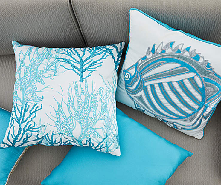 Augusta Aquatic Blue Outdoor Throw Pillows | Big Lots