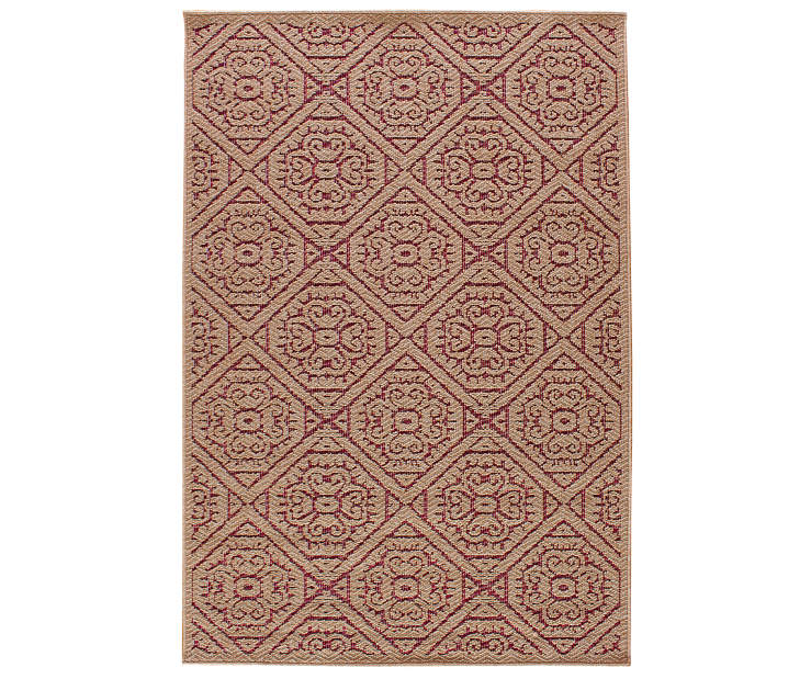 Augusta Tan and Red Tile Patio Rug 6ft 7in x 9ft silo front