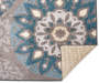 Austin Blue and Gray Medallion Area Rug 5 feet x 7 feet silo front corner flip