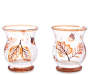 Autumn Leaves 3 point 6 inch Crackle Glass Votive Holders 2 Pack silo front