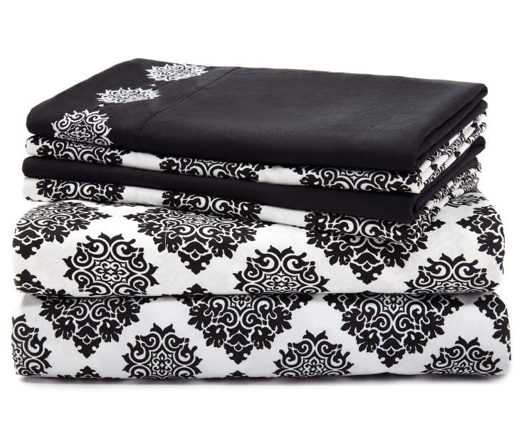 Ava Jet Black Damask King 6 Piece Sheet Set silo front