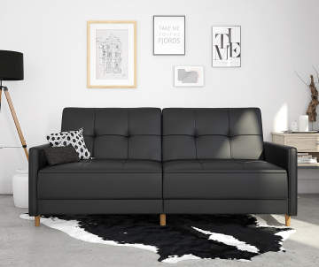 Non Combo Product Ing Price 399 99 Original List Ameriwood Avianna Black Faux Leather Coil Futon