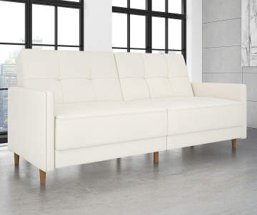Ameriwood Avianna White Faux Leather Coil Futon