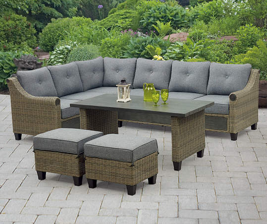 Broyhill Patio 5 Piece Cushioned Sectional All Weather Wicker Set Big Lots