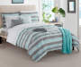 Baldwin Aqua & Gray Stripe Full 14-Piece Comforter Set on bed in bedroom environment image