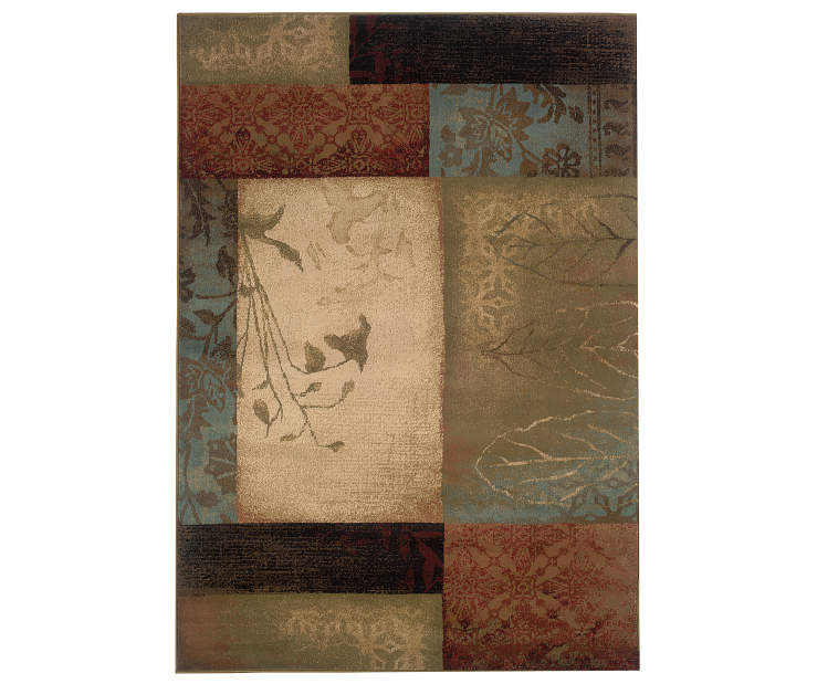 Ballew Beige Area Rug 5 Feet 3 Inches by 7 Feet 6 Inches Overhead View Silo Image