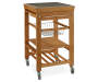 Bamboo Granite Top Kitchen Cart with Storage Basket silo angled