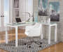 Baraga White L-Shape Desk with Glass Top lifestyle