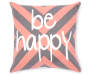 Be Happy Chevron Throw Pillow 18 inch x 18 inch silo front