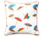 Beach Umbrella Embroidery Outdoor Throw Pillow 20in x 20in silo front