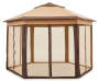 Beige & Brown Hexagon Pop-Up Sunshelter with Netting Silo Image Front View