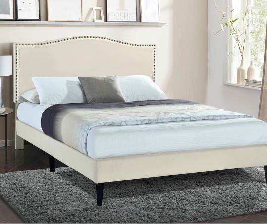 Beige Camelback Upholstered King Platform Bed Big Lots