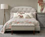 Beige Scallop Corners Upholstered King Bed with Nailhead Trim lifestyle bedroom