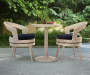 Beige and Navy Blue 3 Piece All Weather Wicker Bistro Set environment