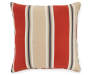 Belcourt Red and Tan Stripe Outdoor Throw Pillow 17 inches by 17 inches Silo Image Front View
