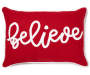 Believe Red Throw Pillow 13 inch x 18 inch silo front