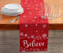 Believe Red and White Snowflake Table Runner 13 inch x 72 inch lifestyle