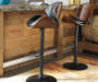 Bellatier Black and Brown Contoured Adjustable Height Barstool lifestyle