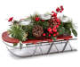 Berry and Pinecone Floral Sleigh 3 Candle Holder silo side view