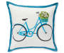 Bicycle and Floral Reversible Outdoor Throw Pillow 20 inch x 20 inch silo front
