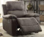Bina Charcoal Gray Microfiber Recliner Lifestyle Angled Right