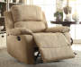 Bina Light Brown Microfiber Recliner Lifestyle Angled Right