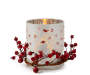 Bird and Berry Glass Votive LED Candle  silo front