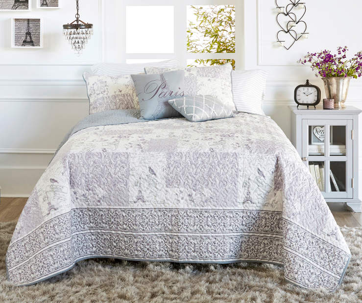 Birds in Paris Lavender and Gray 5 Piece Full Queen Quilt Set lifestyle