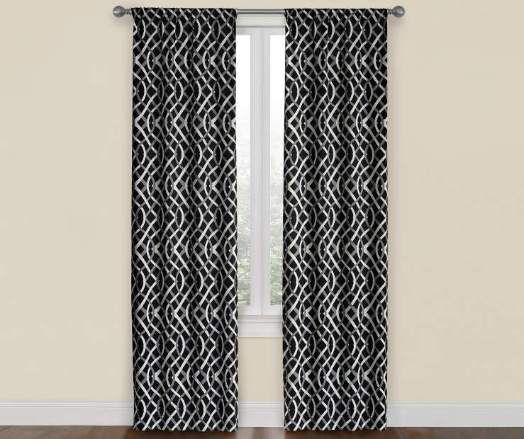 Black, Gray & White Trellis Room Darkening Curtain Panel Pair 52X84 Window View