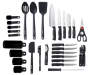 Black 30 Piece Spin and Store Cutlery Set silo front out of package