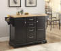 Black 4 Drawer Kitchen Cart Decorated in Room Setting