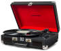 Black Cruiser Bluetooth® Portable Suitcase Turntable silo angled