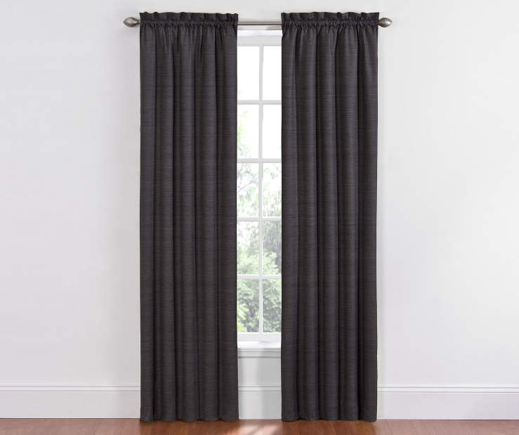 Black Dewey Thermal Blackout Curtains 84 Inches on Window Room View