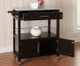 Black Double Door Kitchen Cart with Granite Top lifestyle
