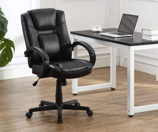 Stratford Black Faux Leather Executive Office Chair Big Lots