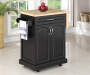 Black Finish Small Kitchen Cart with Drop Leaf Decorated Room View