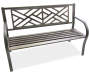 Black Geometric Maze Cast Iron and Steel Garden Bench Angled View Silo Image