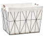 Black Geometric Wire Floor Bin with Fabric Liner silo front