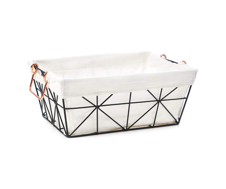 Black Geometric Wire Half Size Storage Bin with Fabric Liner silo front