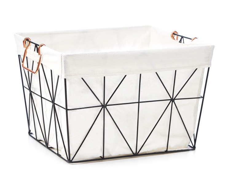 Black Geometric Wire Large Storage Bin with Fabric Liner silo front