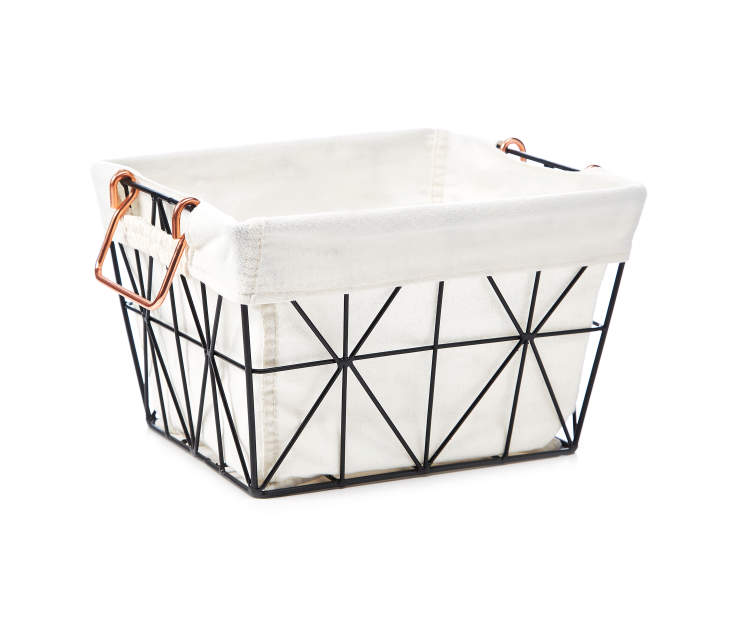 Black Geometric Wire Small Storage Bin with Fabric Liner silo side view