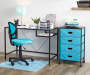 Black Glass Desk with Desk Chair and Office Products in Room Lifestyle Image