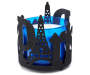 Black Glitter Paris Candle Sleeve Silo Front View With Blue Candle