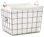 Black Grid Wire Floor Bin with Fabric Liner silo front