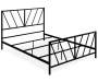 Black High Gloss Chevron Patterned Queen Metal Bed Frame silo angled